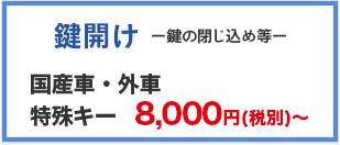 鍵開け 国産車・外車一般キー8,000円(税別)~