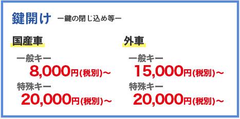 鍵開け 国産車 一般キー8,000円(税別)~特殊キー20,000円(税別)~